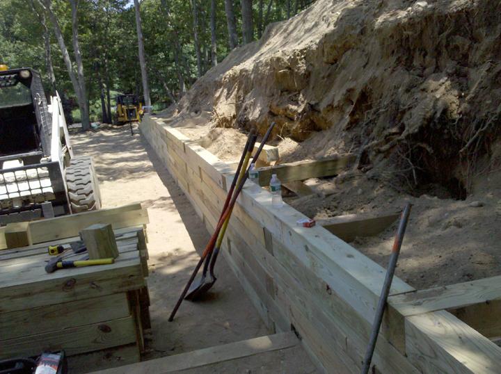 Railroad Tie Teared Walls Around Pool Sag Harbor Long